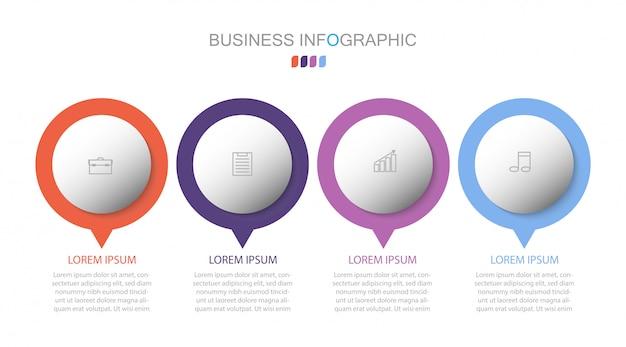 Options de numéro de modèle de cercle d'infographie. concept d'entreprise avec 4 options, étapes ou processus.