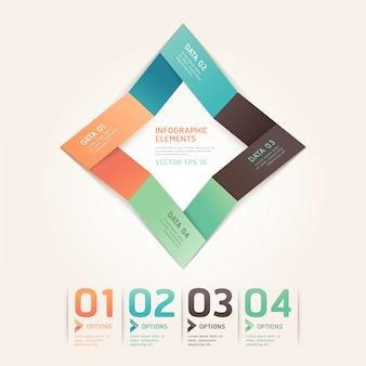 Options de numéro de style flèche moderne origami pour la mise en page de flux de travail, diagramme, infographie.
