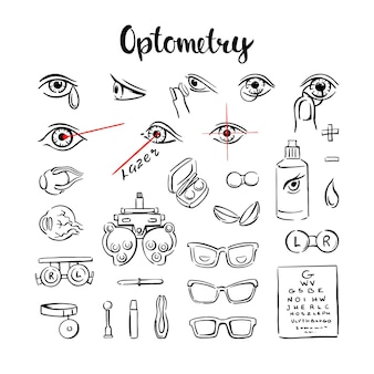 L'optométrie est un ensemble d'icônes, avec des yeux, des lentilles et des lunettes pour les graphiques d'informations médicales. illustration vectorielle dessinée à la main sur fond blanc.