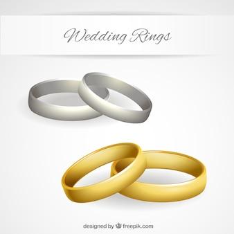 L'or et l'argent des anneaux de mariage