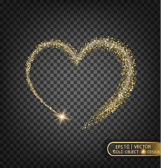L'or brille sur un fond transparent