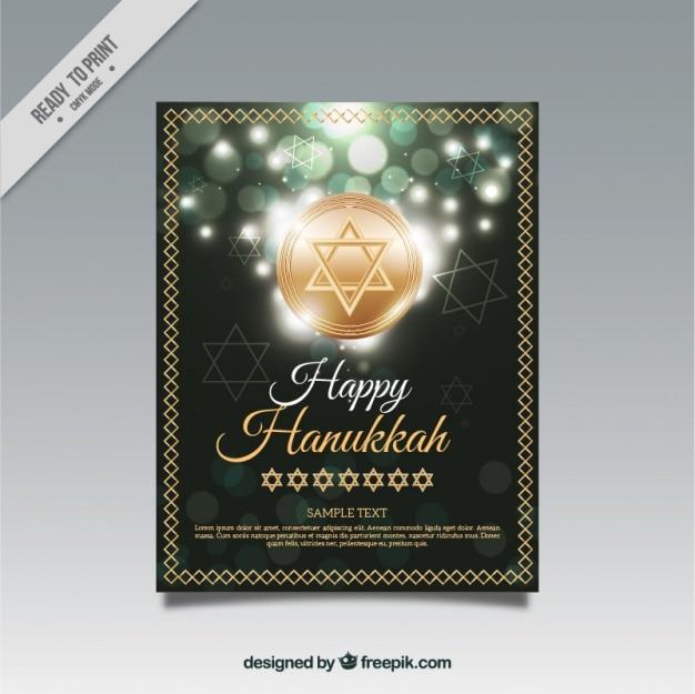 Or carte de hanoucca avec effet bokeh