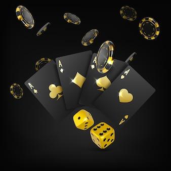 Dés d'or cartes à jouer noires quatre as et jetons de poker qui tombent affiche de grande victoire du casino