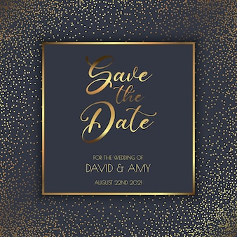 Or élégant et noir sauvent la conception d'invitation de date