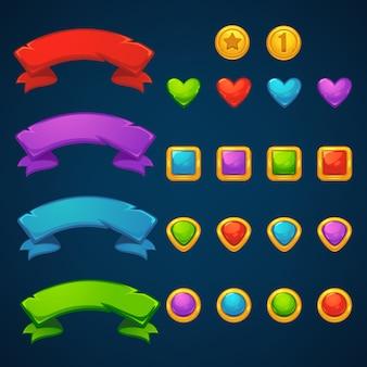 Or et gemmes, jeu de tir à bulles tresarues, match 3, objets vectoriels et blocs