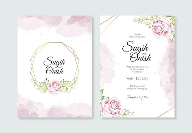 Or géométrique avec fleur aquarelle pour les modèles d'invitations de mariage