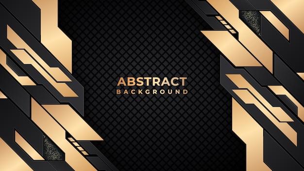 Or géométrique de luxe abstrait et fond noir