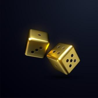 Dés d'or isolés sur fond noir.