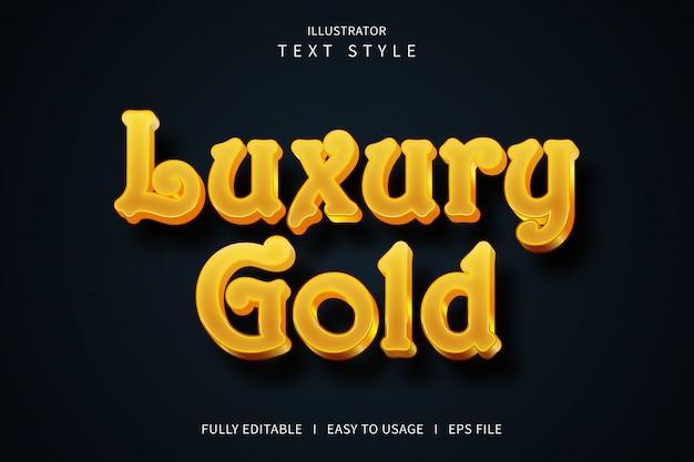 Or de luxe, effet de police de style de texte 3d dégradé jaune or orange