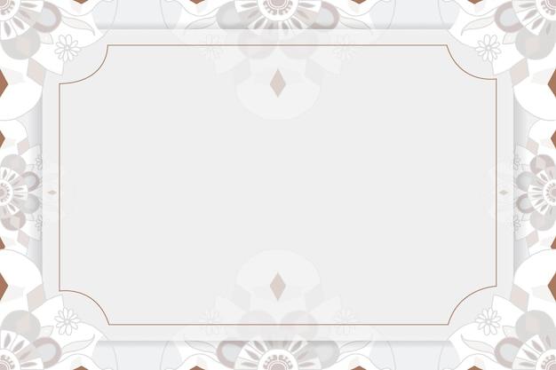 Or mandala modèle vecteur cadre gris botanique style indien
