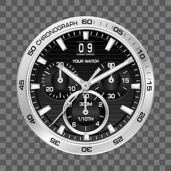 Or montre horloge chronographe visage de fond de luxe.