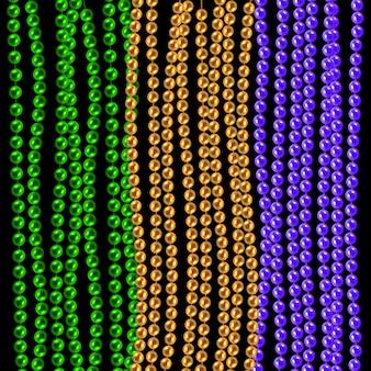Or multicolore 3d, perles vertes, violettes isolées sur fond noir. set for celebratory design, xmas holiday, carte de voeux. décorations de mardi gras, élément de design. illustration