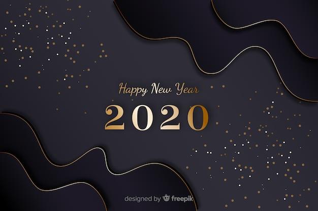 Or nouvelle année 2020 avec des cadres de vagues