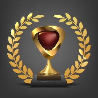 Or réaliste avec trophée de forme rouge avec couronne de laurier illustration vectorielle