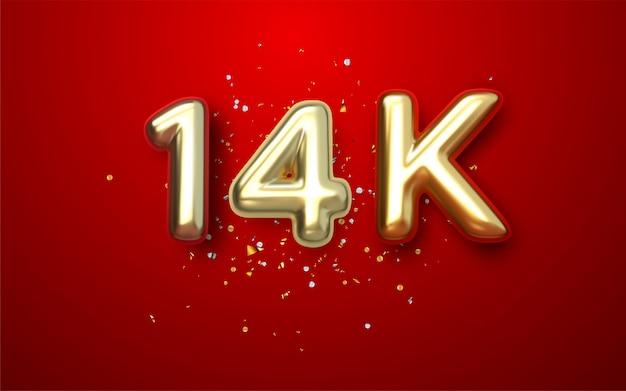Or rouge de luxe 14k, 14.000 abonnés merci ruban d'or