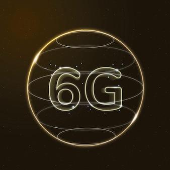 Or de la technologie de connexion mondiale 6g dans l'icône numérique du globe