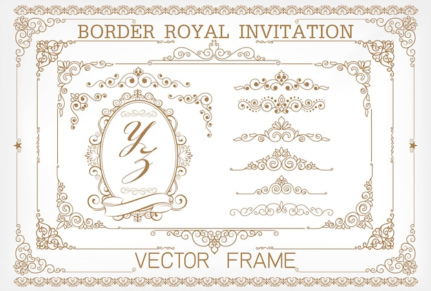 Or vintage vector set éléments floraux