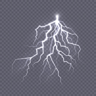 Orage et foudre l'effet de la lumière et de l'éclat décharge le courant électrique