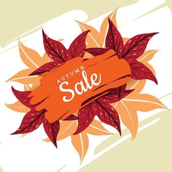 Orange bannière de vente sur les feuilles de gomme sucrée pour la saison d'automne