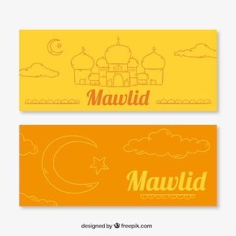 Orange et bannières jaunes mawlid