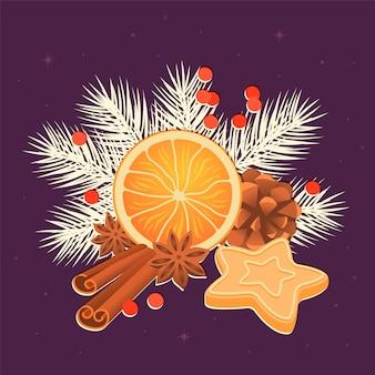 Orange, bâtons de cannelle, fleur d'anis, pomme de pin et biscuits de noël
