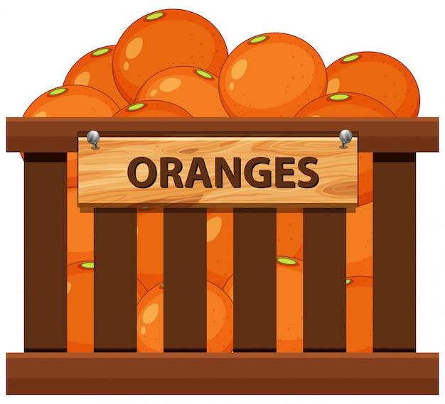 Orange dans la caisse en bois