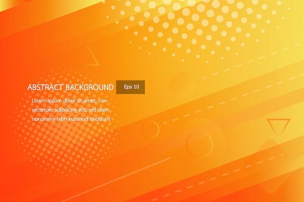 Orange douce et orange avec fond de formes géométriques dégradé abstrait jaune, brille et lisse avec modèle futuriste et moderne, vecteur