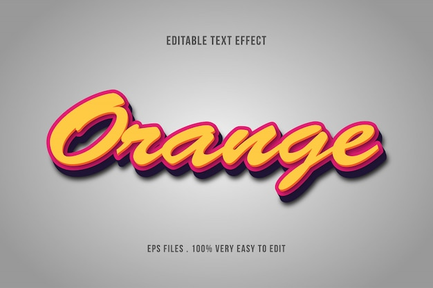 Orange - effet de texte premium, texte modifiable
