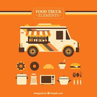 Orange éléments de camion alimentaire