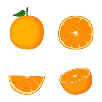 Orange, fruit entier, moitié et tranche, sur fond blanc, illustration vectorielle