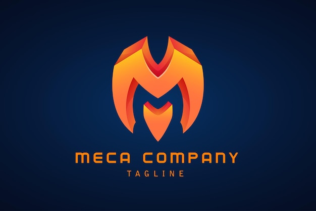 Orange lettre m dégradé logo corporate