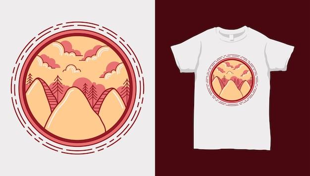 Orange mountain lisse sur cercle avec conception de t-shirt