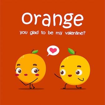 Une orange propose une autre orange. illustration vectorielle