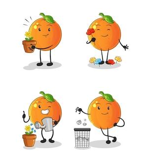 L'orange sauve le groupe de la terre. mascotte de dessin animé