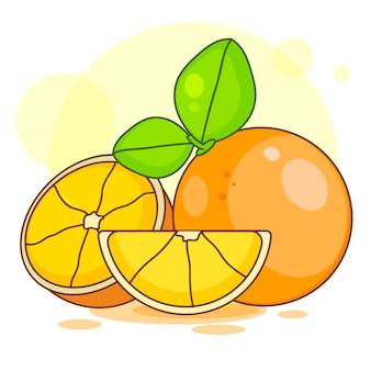 Orange tranche avec feuilles isolé illustration