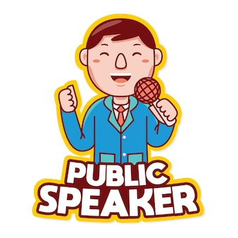 Orateur public profession mascot logo vector en style cartoon