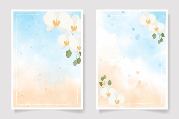 Orchidée phalaenopsis blanche sur la collection de cartes d'invitation aquarelle splash bleu