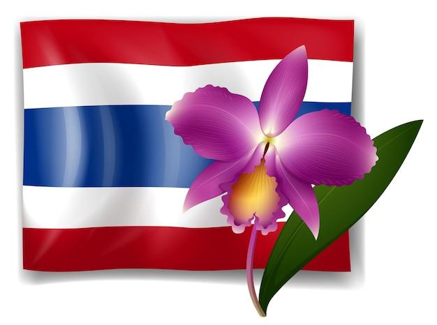 Orchidée pourpre et drapeau de la thaïlande