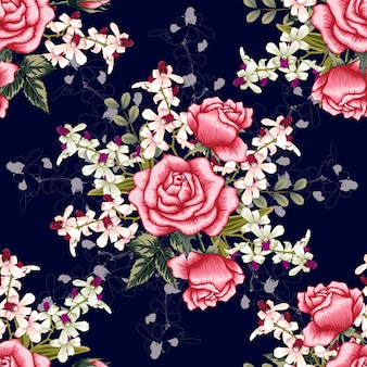 Orchidée rose transparente motif, fleurs rose rouge