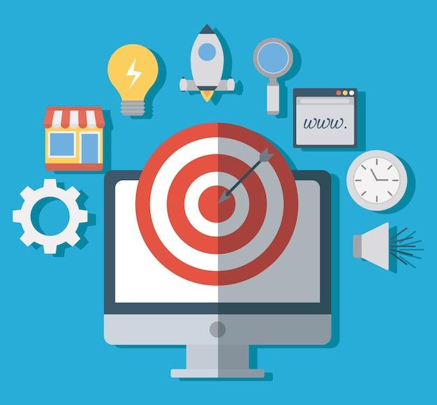 Ordinateur et arc avec des icônes connexes de marketing numérique