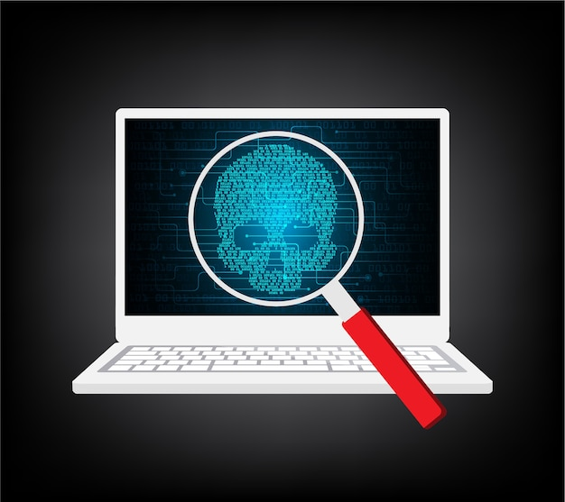 Ordinateur attaqué par des pirates informatiques.