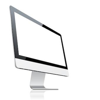 Ordinateur de bureau avec écran blanc, isolé