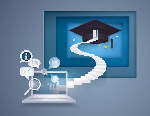 Ordinateur de bureau avec escalier jusqu'au cap de la remise des diplômes, la porte au sommet de l'escalier