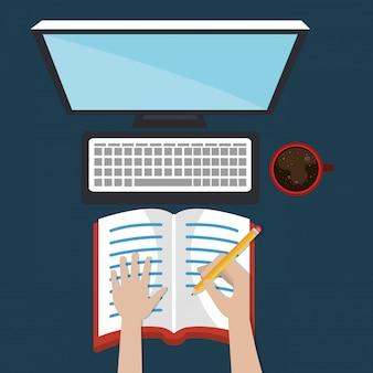 Ordinateur de bureau avec des icônes d'apprentissage faciles
