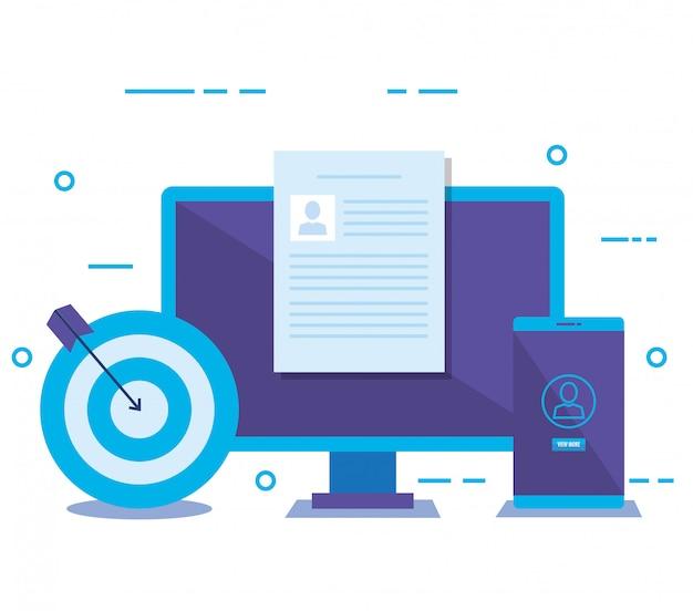 Ordinateur de bureau avec icônes de marketing des médias sociaux