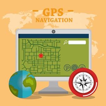 Ordinateur de bureau avec logiciel de navigation gps