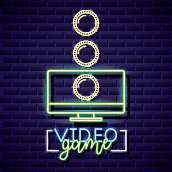 Ordinateur de bureau et pièces de monnaie, style linéaire néon de jeu vidéo