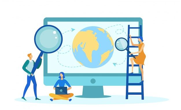 Ordinateur de bureau avec la planète terre à l'écran.