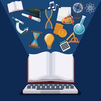 Ordinateur de couleur fond tech et affichage ouvert livre avec des connaissances halo légères icônes académique