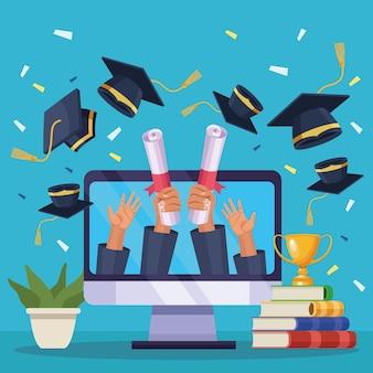 Ordinateur dans l'obtention du diplôme virtuelle